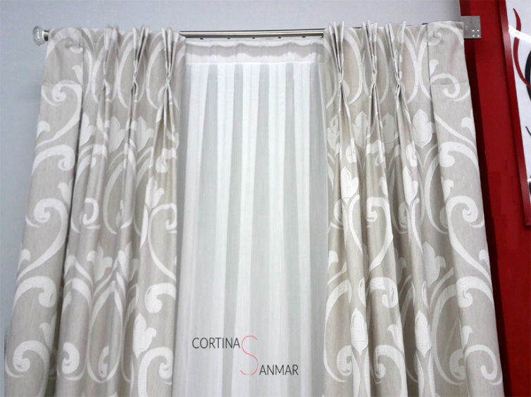 visillo y cortinas con confeccion de triple pliegue