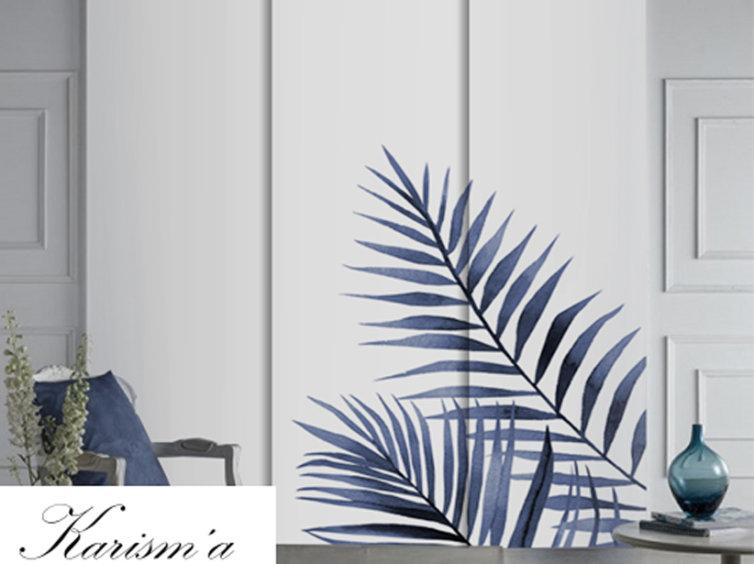 Panel japonés de screen con hojas azules