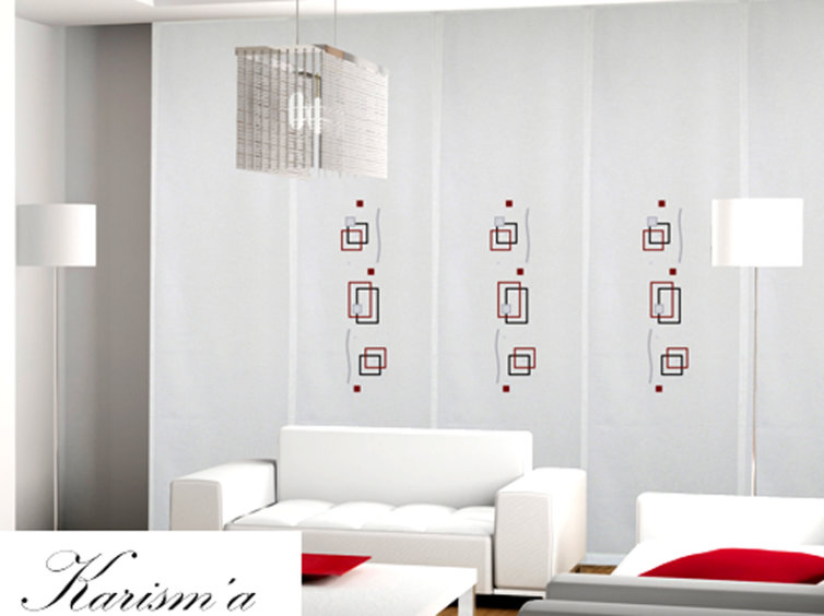 Panel japonés con motivos geométricos rojos
