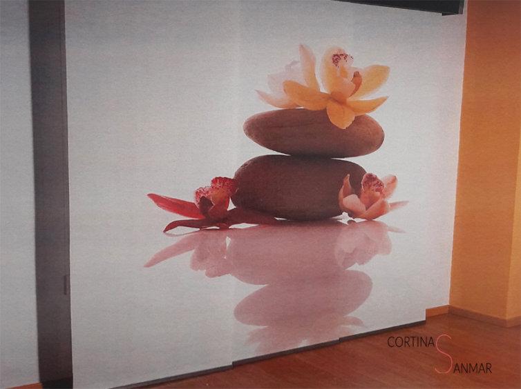 panel japonés de 3 vias con motivos zen