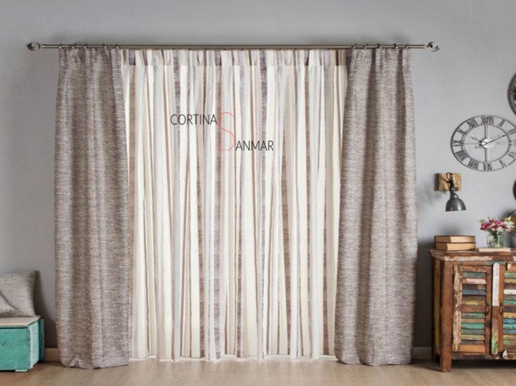 visillo de rayas con cortinas decorativas con tejido jaspeado