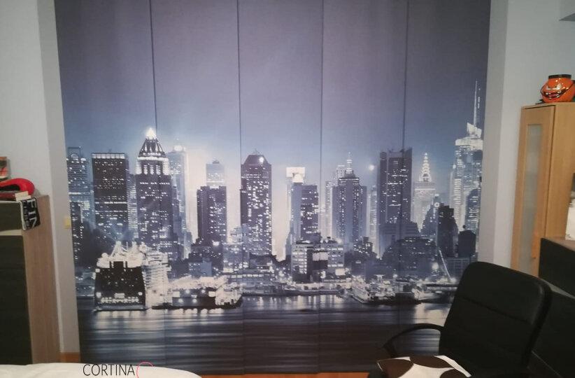 panel japonés New York de noche