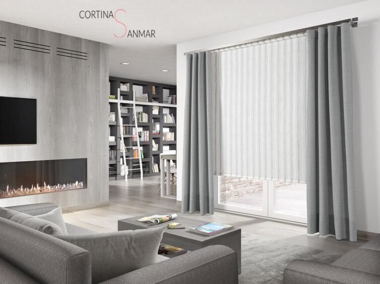 Combinación de estor enrollable y cortinas con barra