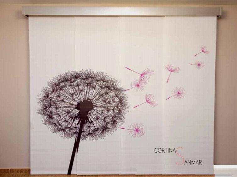 Flor diente de León imprimido en un panel japonés